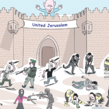 Satirical cartoon with figure on wall by banner declaring 'United Jerusalem' as various skirmishes take place below
